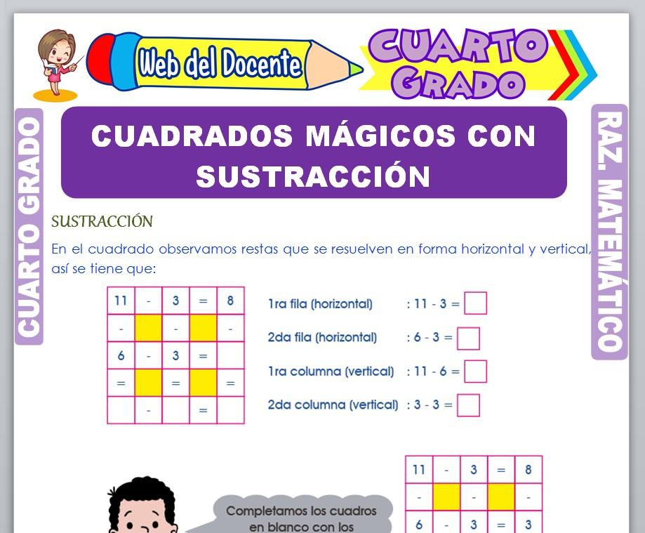 Ficha de Cuadrados Mágicos con Sustracción para Cuarto Grado de Primaria