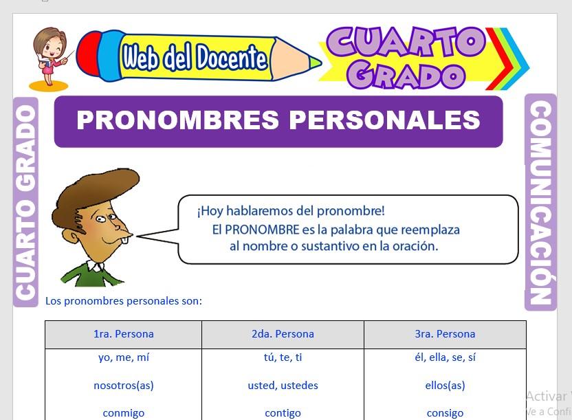 Ficha de Cuales son los Pronombres Personales para Cuarto Grado de Primaria
