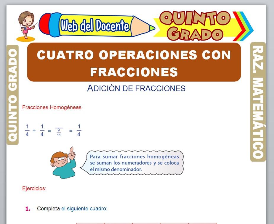 Ficha de Cuatro Operaciones con Fracciones para Quinto Grado de Primaria