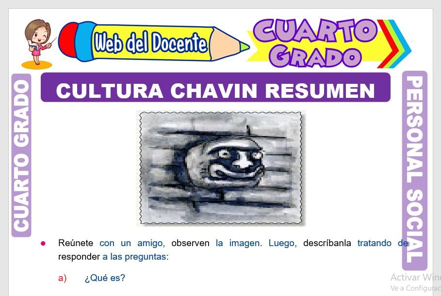 Ficha de Cultura Chavin Resumen para Cuarto Grado de Primaria
