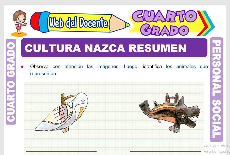 Ficha de Cultura Nazca Resumen para Cuarto Grado de Primaria