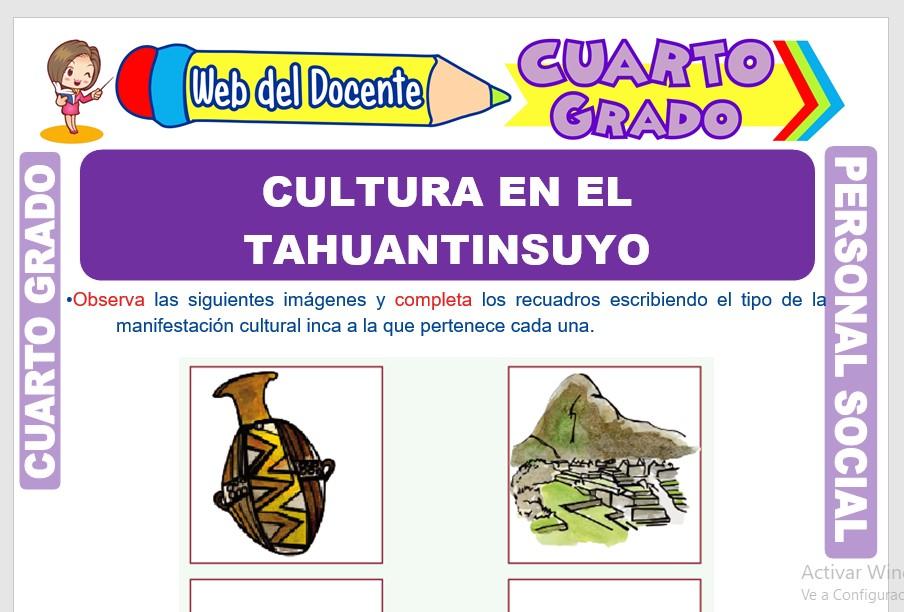 Ficha de Cultura en el Tahuantinsuyo para Cuarto Grado de Primaria