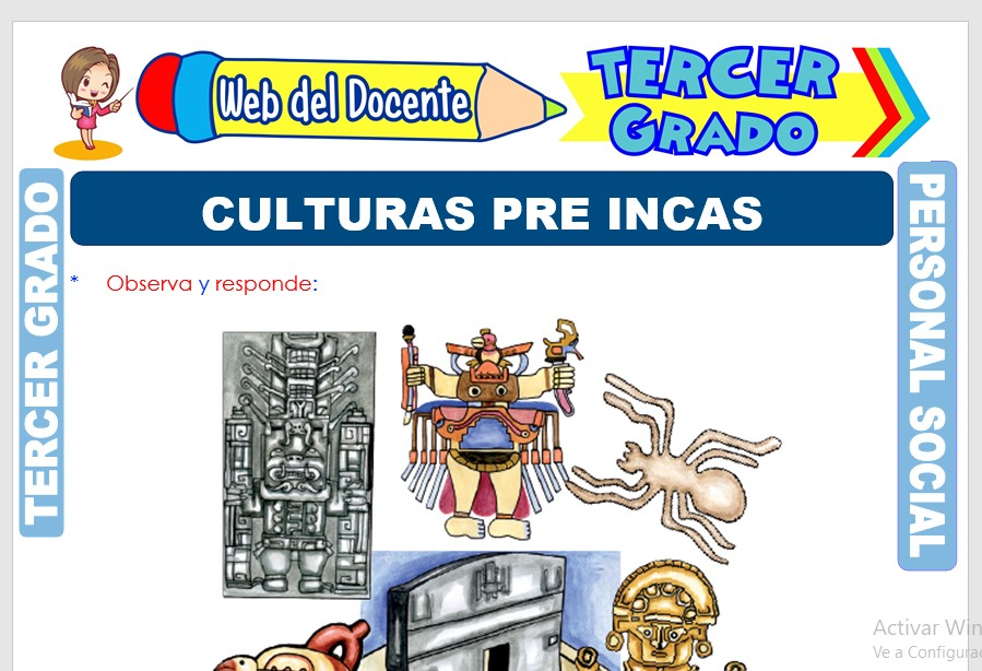 Ficha de Culturas Pre Incas para Tercer Grado de Primaria