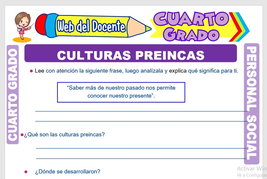 Ficha de Culturas Preincas para Cuarto Grado de PrimariaFicha de Culturas Preincas para Cuarto Grado de Primaria