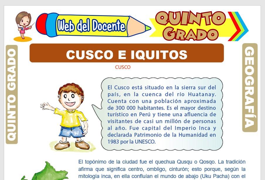 Ficha de Cusco e Iquitos para Quinto Grado de Primaria