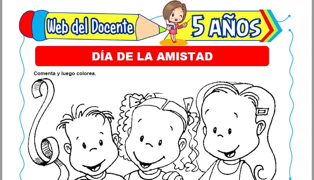 Muestra de la Ficha de Día de la Amistad para Niños de 5 Años