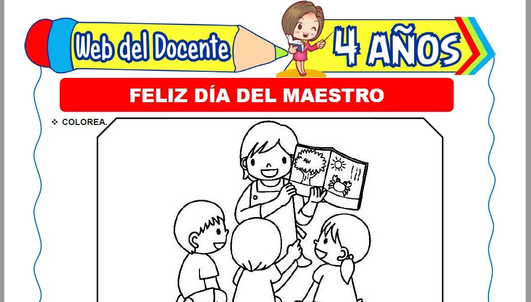 Muestra de la Ficha de Día del Maestro para Niños de 4 Años