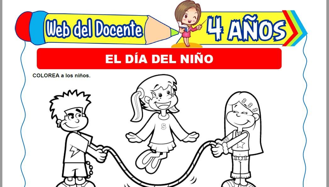 Muestra de la Ficha de Día del Niño para Niños de 4 Años