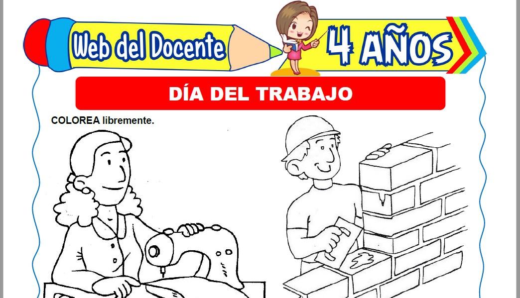 Muestra de la Ficha de Día del Trabajo para Niños de 4 Años