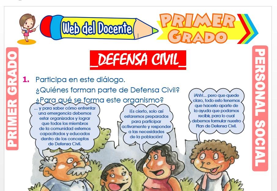 Ficha de Defensa Civil para Primer Grado de Primaria