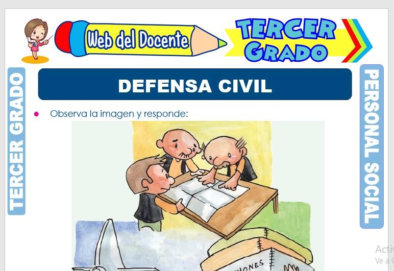 Ficha de Defensa Civil para Tercer Grado de Primaria