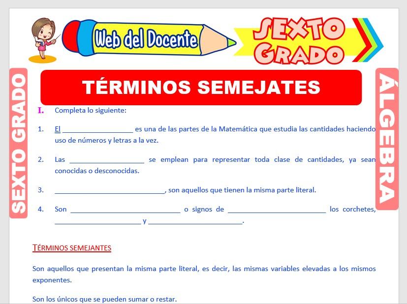 Ficha de Definición de Términos Semejantes para Sexto Grado de Primaria