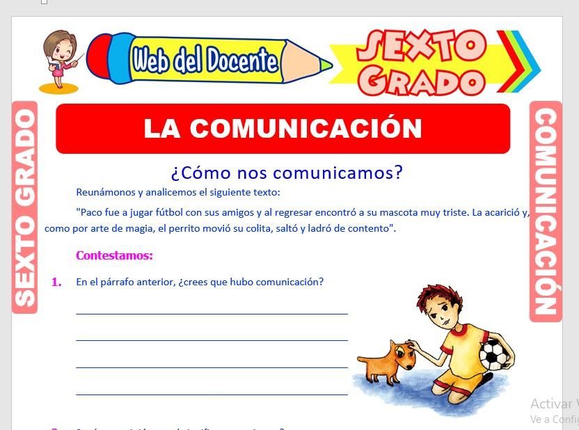Ficha de Definición de la Comunicación para Sexto Grado de Primaria