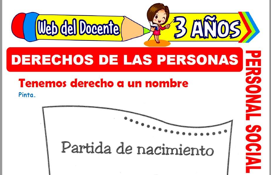 Muestra de la Ficha de Derechos de las Personas para Niños de 3 Años