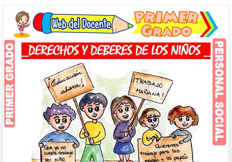 Ficha de Derecho y Deberes de los Niños para Primer Grado de Primaria