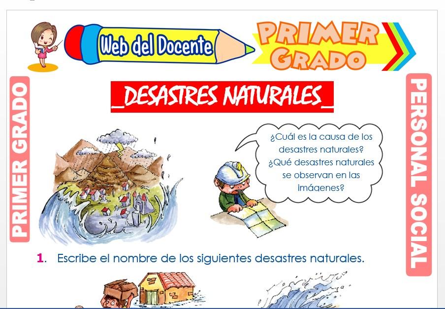 Ficha de Desastres Naturales para Primer Grado de Primaria
