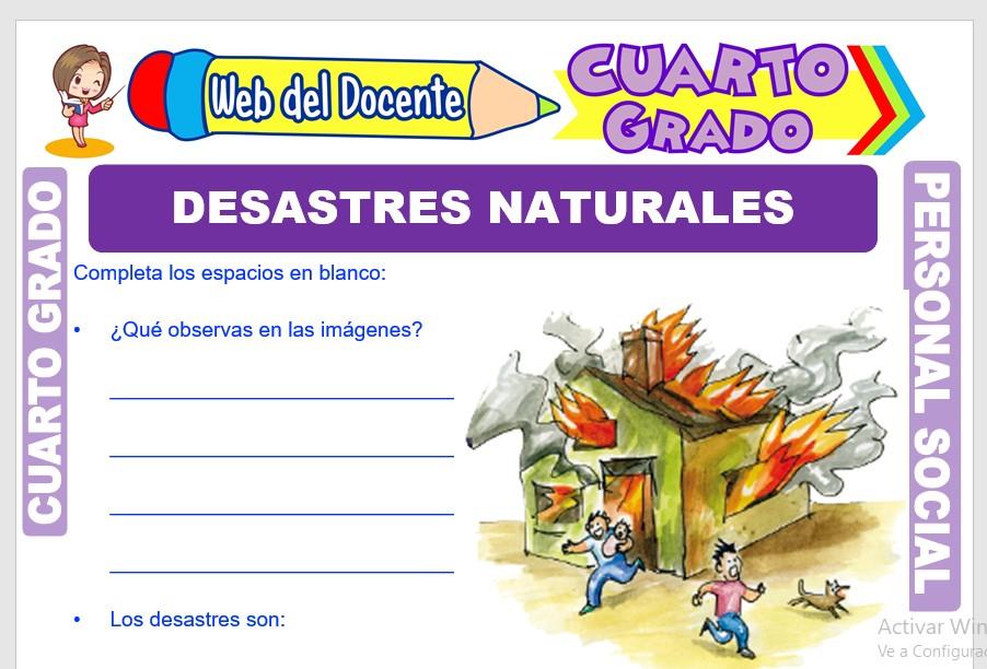 Ficha de Desastres Naturales para Cuarto Grado de Primaria