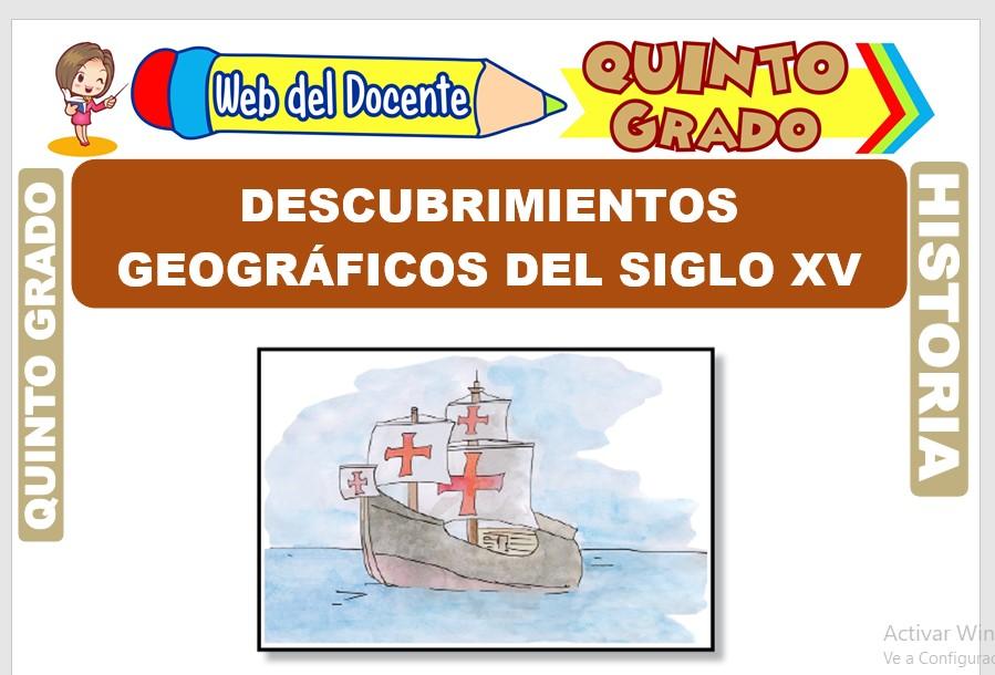 Ficha de Descubrimientos Geográficos del siglo XV para Quinto Grado de Primaria