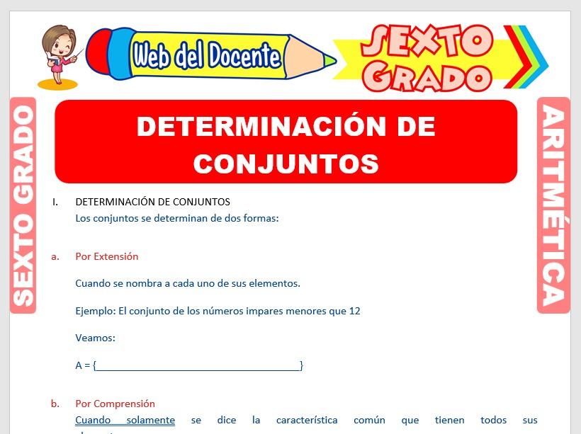 Ficha de Determinación de un Conjunto para Sexto Grado de Primaria