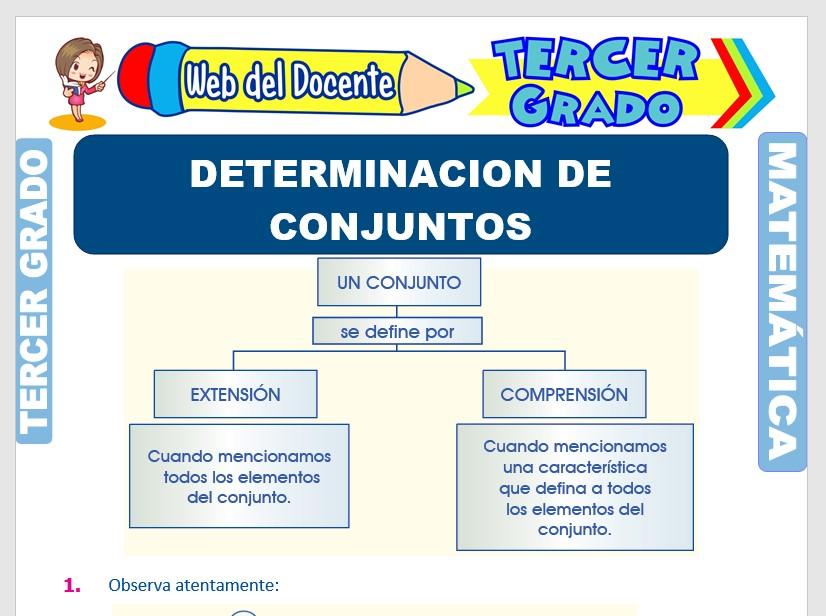 Ficha de Determinación por Extensión y Comprensión de Conjuntos para Tercer Grado de Primaria