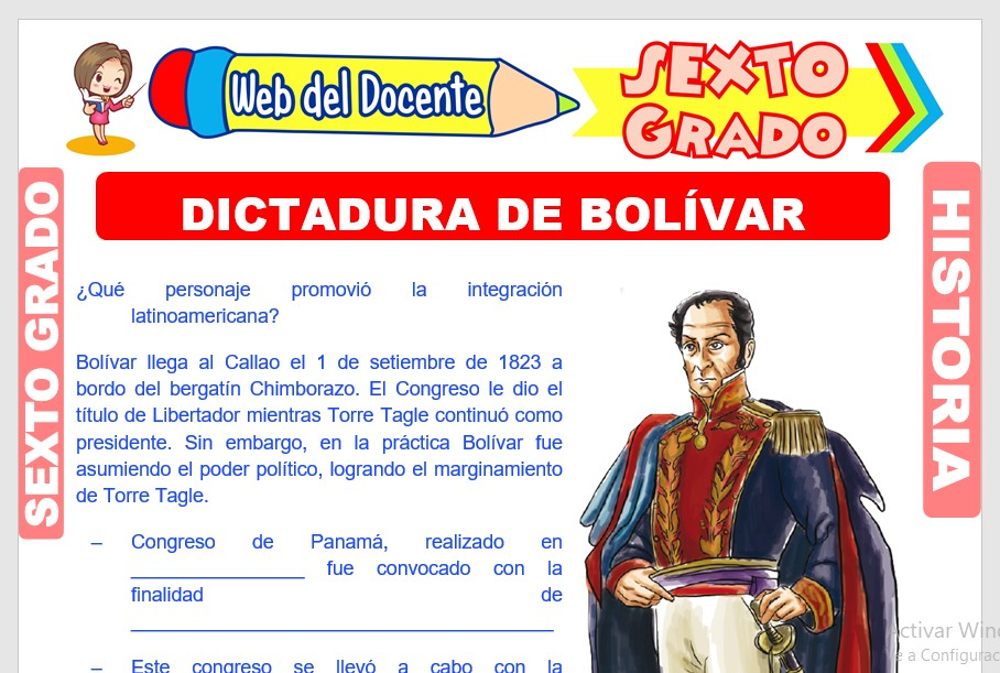 Ficha de Dictadura de Bolívar para Sexto Grado de Primaria