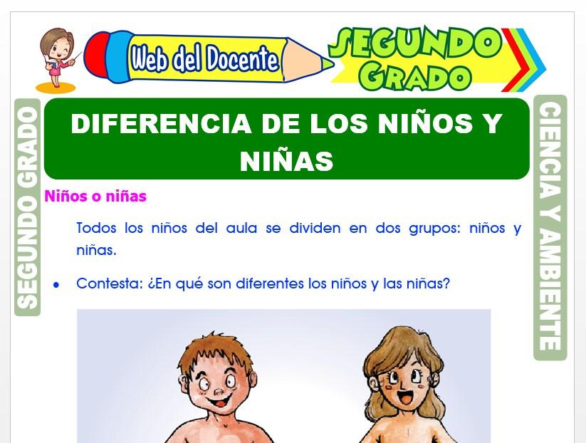 Ficha de Diferencia de los Niños y Niñas para Segundo Grado de Primaria