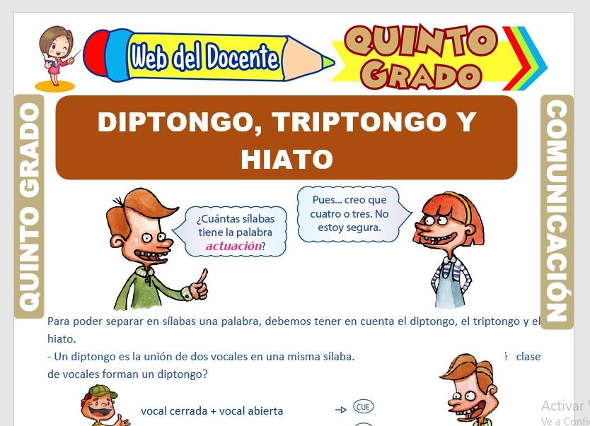 Ficha de Diptongo, Triptongo e Hiato para Quinto Grado de Primaria