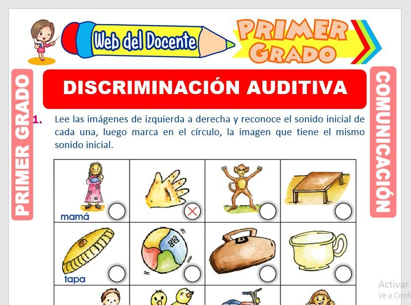 Ficha de Discriminación Auditiva para Primero de Primaria