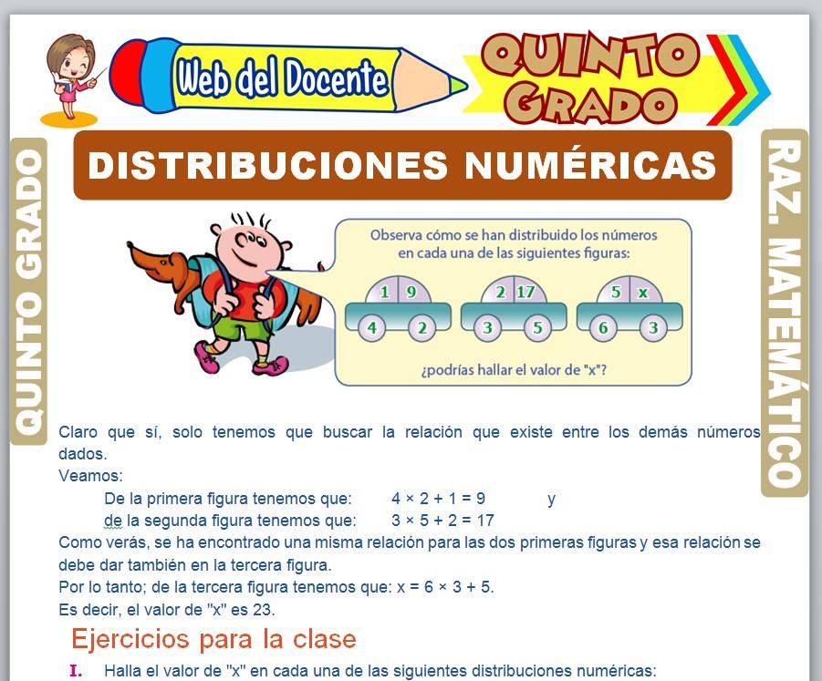 Ficha de Distribuciones Numéricas para Quinto Grado de Primaria