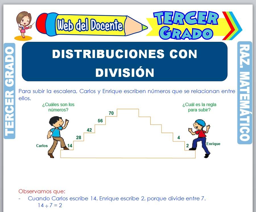 Ficha de Distribuciones con División para Tercer Grado de Primaria