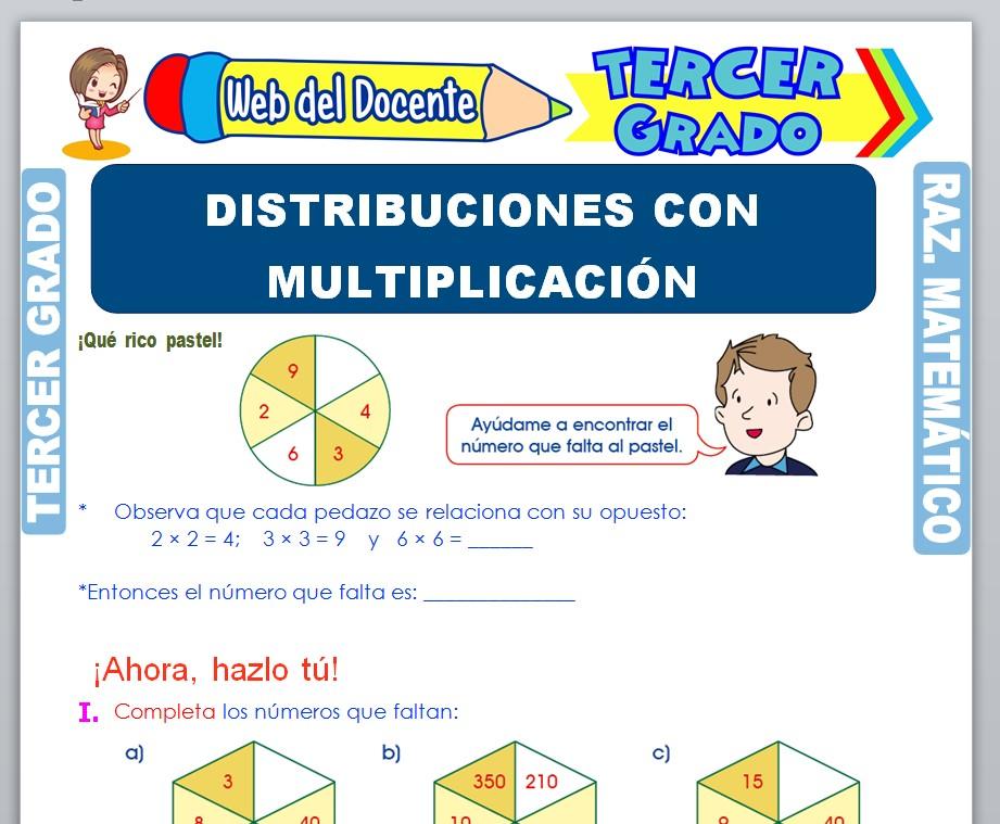 Ficha de Distribuciones con Multiplicación para Tercer Grado de Primaria