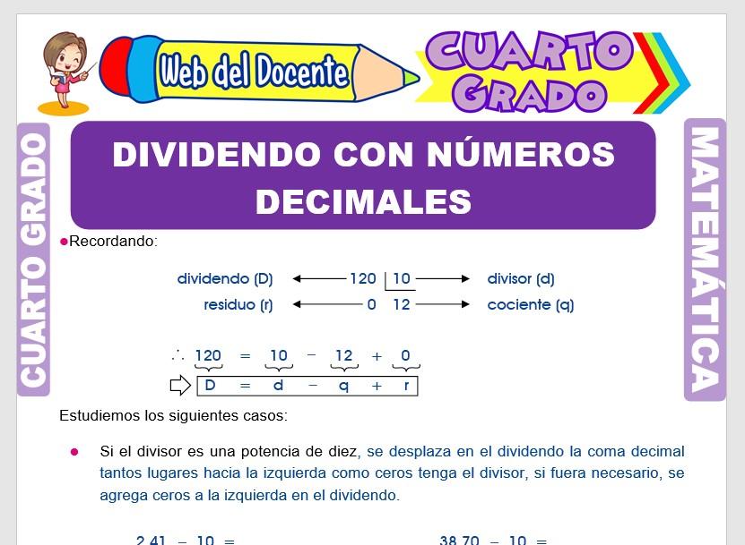 Ficha de División con Números Decimales para Cuarto Grado de Primaria