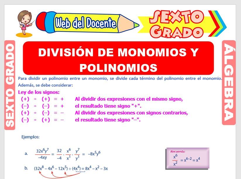 Ficha de División de Monomios y Polinomios para Sexto Grado de Primaria