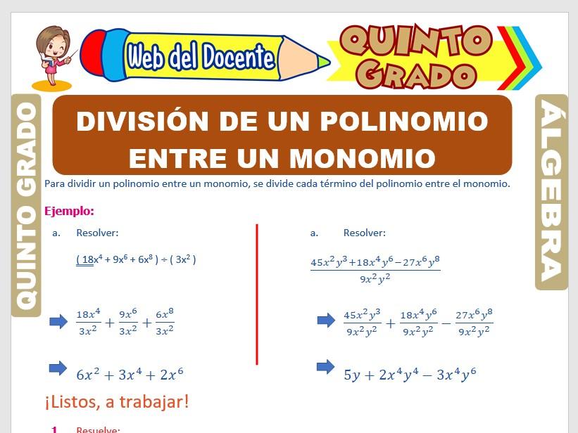 Ficha de División de un Polinomio entre un Monomio para Quinto Grado de Primaria