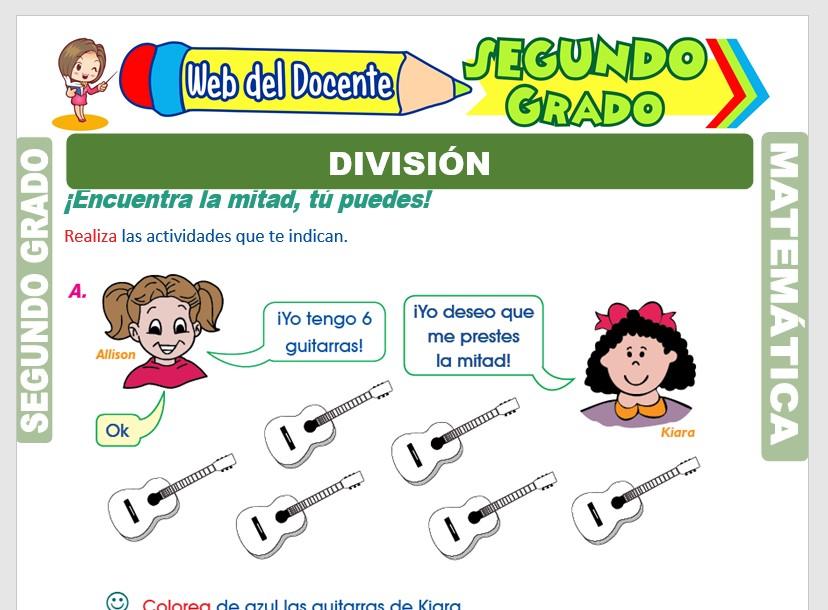 Ficha de División para Niños para Segundo Grado de Primaria
