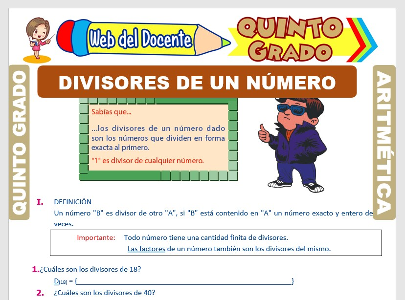 Ficha de Divisores de un Número para Quinto Grado de Primaria