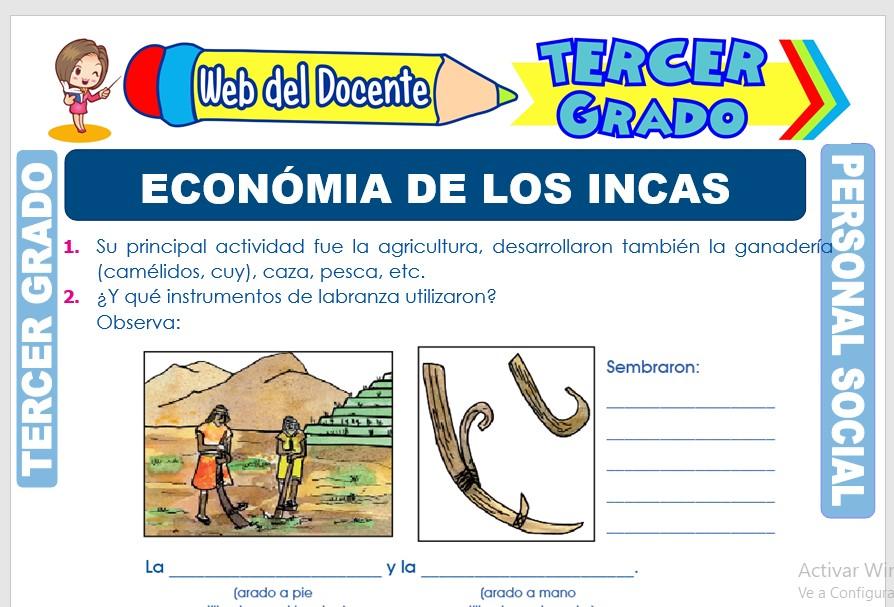 Ficha de Económia de los Incas para Tercer Grado de Primaria