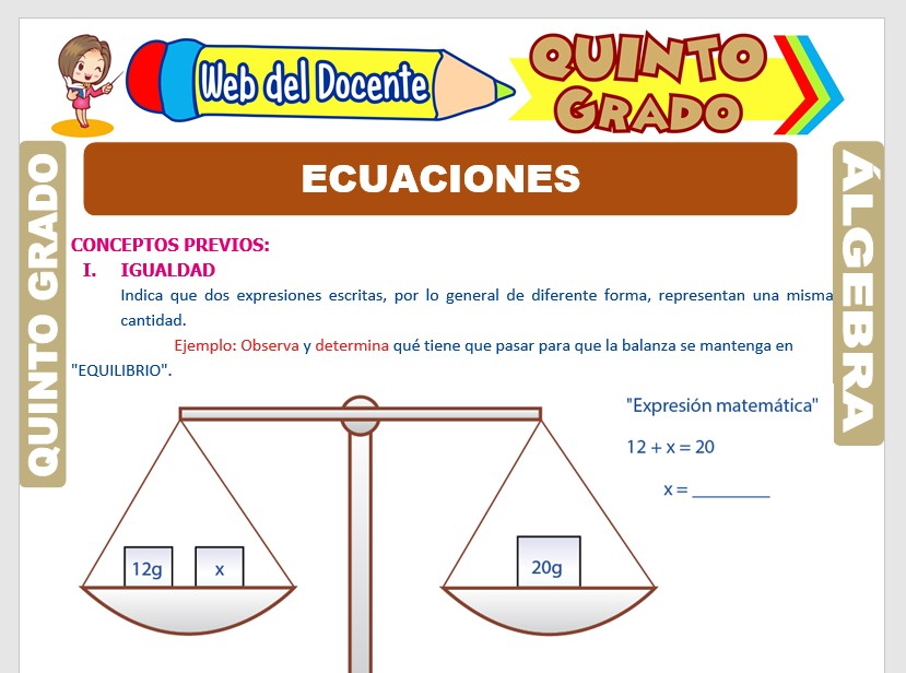Ficha de Ecuaciones Lineales para Quinto Grado de Primaria