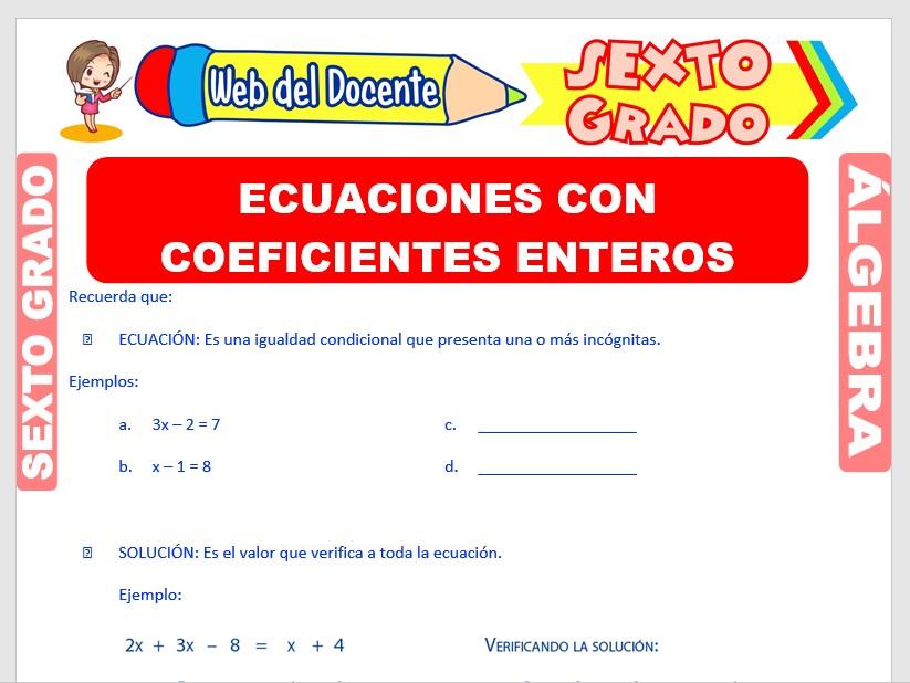 Ficha de Ecuaciones con Coeficientes Enteros para Sexto Grado de Primaria