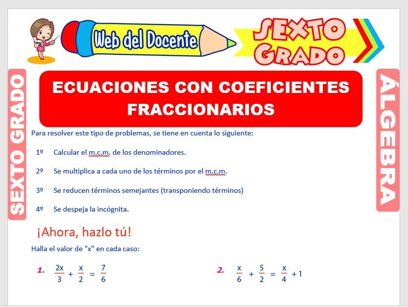 Ficha de Ecuaciones con Coeficientes Fraccionarios para Sexto Grado de Primaria