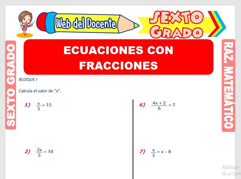 Ficha de Ecuaciones con Fracciones para Sexto Grado de Primaria