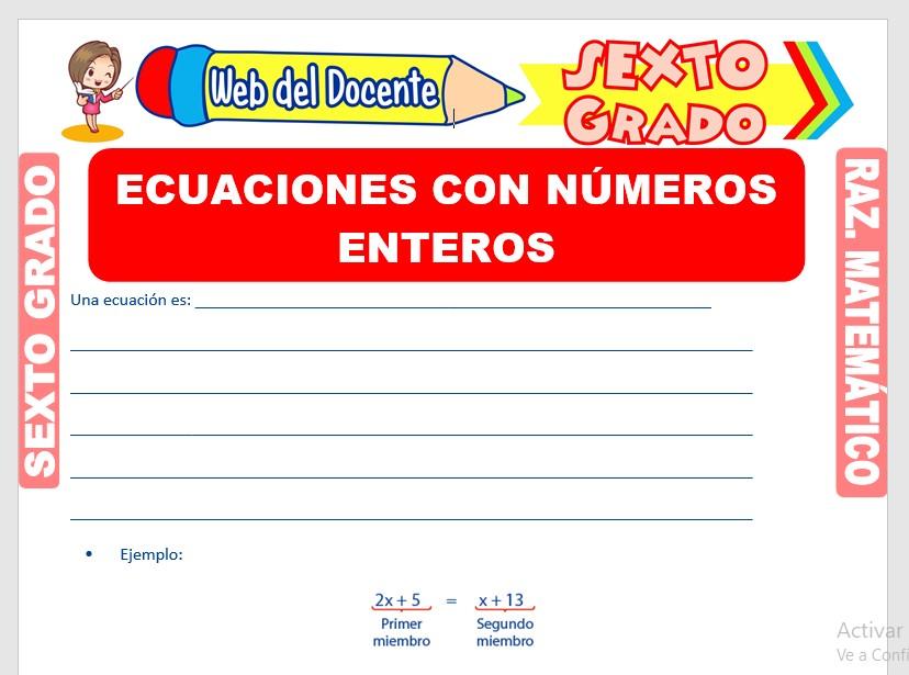 Ficha de Ecuaciones con Números Enteros para Sexto Grado de Primaria