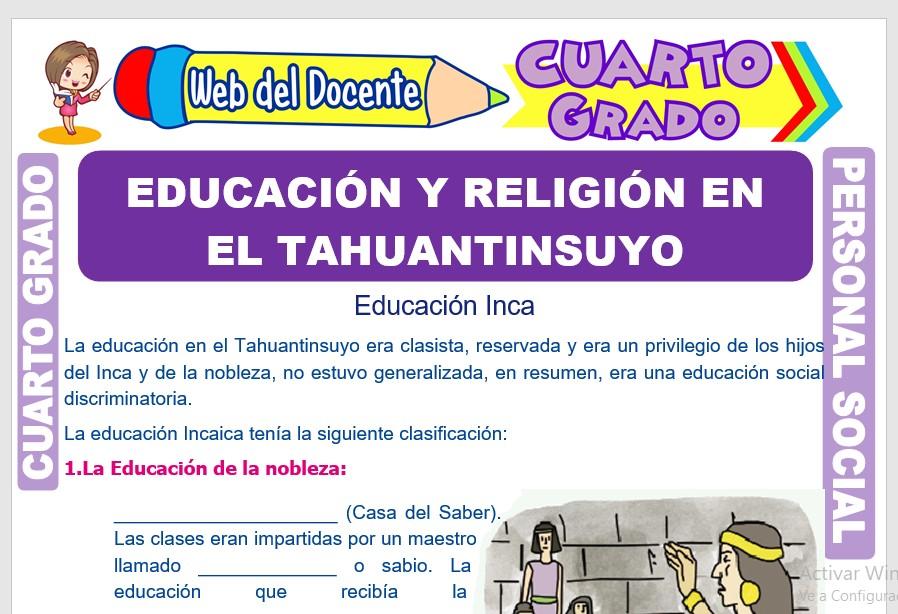 Ficha de Educación y Religión en el Tahuantinsuyo para Cuarto Grado de Primaria