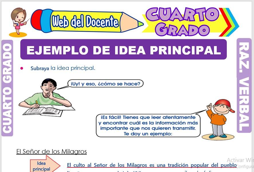 Ficha de Ejemplo de Idea Principal para Cuarto Grado de Primaria