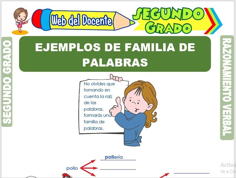 Ficha de Ejemplos de Familia de Palabras para Segundo Grado de Primaria
