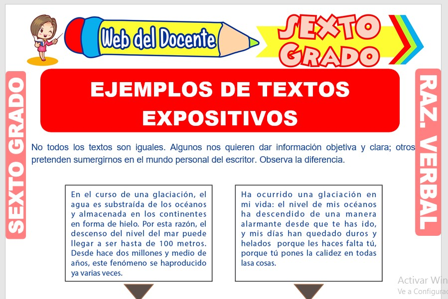 Ficha de Ejemplos de Textos Expositivos para Sexto Grado de Primaria
