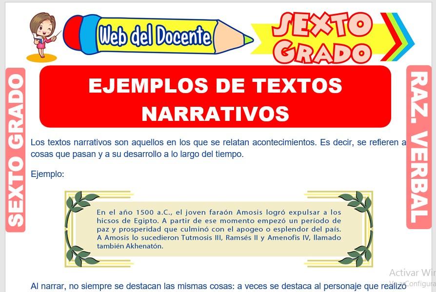 Ficha de Ejemplos de Textos Narrativos para Sexto Grado de Primaria