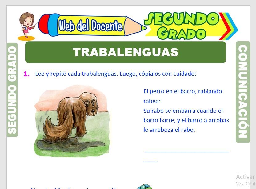 Ficha de Ejemplos de Trabalenguas para Segundo Grado de Primaria