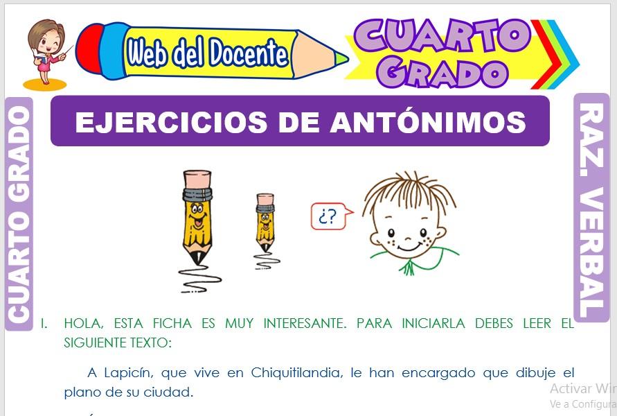 Ficha de Ejercicios de Antónimos para Cuarto Grado de Primaria