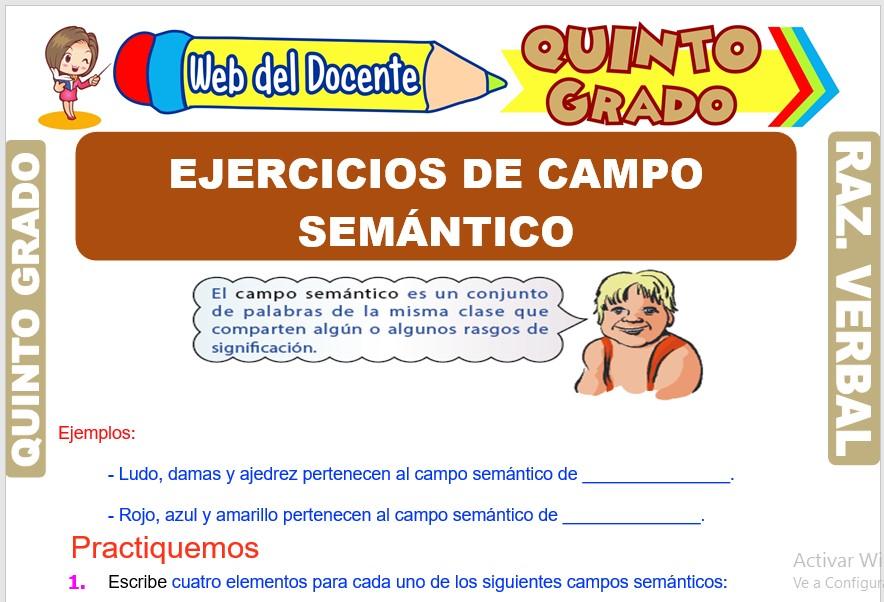 Ficha de Ejercicios de Campo Semántico para Quinto Grado de Primaria